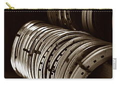 Carry-all Pouch featuring the photograph Horse Shoes In Sepia by Angela Rath