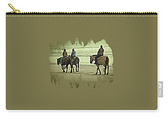Carry-all Pouch featuring the photograph Horseback Riding On The Beach by Thom Zehrfeld