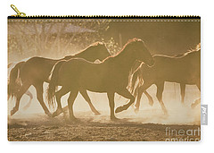 Carry-all Pouch featuring the photograph Horses And Dust by Ana V Ramirez