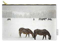 Horses And Snow Carry-all Pouch