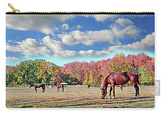 Horses Grazing At A Stable In Maryland Carry-all Pouch
