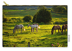 Horses Grazing In Evening Light Carry-all Pouch