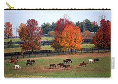 Carry-all Pouch featuring the photograph Horses Grazing In The Fall by Sumoflam Photography