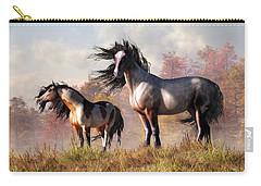 Horses In Fall Carry-all Pouch by Daniel Eskridge