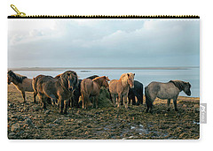 Carry-all Pouch featuring the photograph Horses In Iceland by Dubi Roman