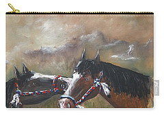Carry-all Pouch featuring the painting  Horses by Miroslaw  Chelchowski