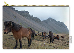 Carry-all Pouch featuring the photograph Horses Near Vestrahorn Mountain, Iceland by Dubi Roman