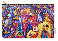 Carry-all Pouch featuring the painting Horses Of The Five Elements by Dianne  Connolly