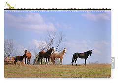 Carry-all Pouch featuring the photograph Horses On The Hill by Bonnie Willis