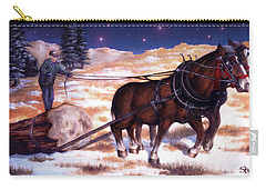 Horses Pulling Log Carry-all Pouch