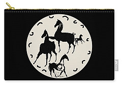 Horses Red Plate Carry-all Pouch by Mary Armstrong