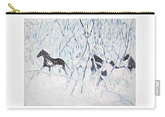 Horses Running In Ice And Snow Carry-all Pouch