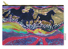 Horses Running Thru A Stream Carry-all Pouch