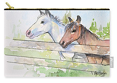 Horses Watercolor Sketch Carry-all Pouch