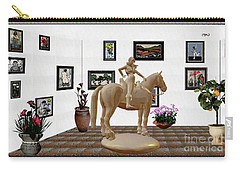 Virtual Exhibition -statue Of Horsewoman 12 Carry-all Pouch by Pemaro