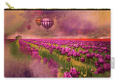 Carry-all Pouch featuring the photograph Hot Air Balloons Over Tulip Fields by Jeff Burgess
