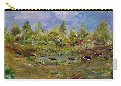 Carry-all Pouch featuring the painting Hot August Afternoon by Judith Rhue