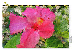 Hot Pink Hibiscus Carry-all Pouch by Alan Lakin