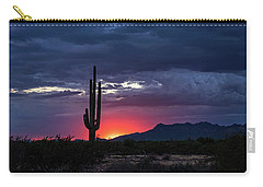 Carry-all Pouch featuring the photograph Hot Pink Saguaro Sunset  by Saija Lehtonen