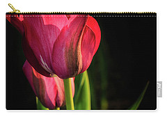 Hot Pink Tulip On Black Carry-all Pouch