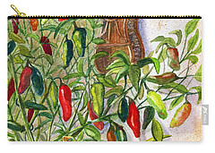 Carry-all Pouch featuring the painting Hot Sauce On The Vine by Marilyn Smith