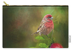 House Finch On Apple Branch Carry-all Pouch by Janette Boyd