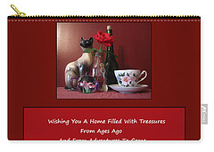 Carry-all Pouch featuring the mixed media Housewarming Card by Mary Ellen Frazee