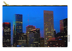 #houston #skyline At #night. #lights Carry-all Pouch by Austin Tuxedo Cat