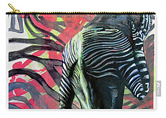 Carry-all Pouch featuring the painting Rising From Ashes Zebra Boy by Rene Capone
