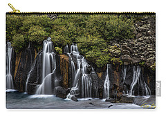 Carry-all Pouch featuring the photograph Hraunfossar In The Gloom by Rikk Flohr