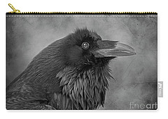 Carry-all Pouch featuring the photograph Huginn... by Nina Stavlund