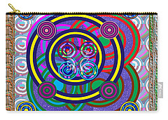 Hula Hoop Circles Tubes Girls Games Abstract Colorful Wallart Interior Decorations Artwork By Navinj Carry-all Pouch