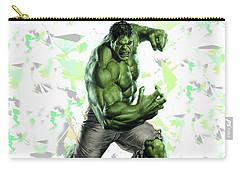 Carry-all Pouch featuring the mixed media Hulk Splash Super Hero Series by Movie Poster Prints