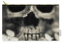 Carry-all Pouch featuring the photograph Human Skull Among Flowers by Edward Fielding