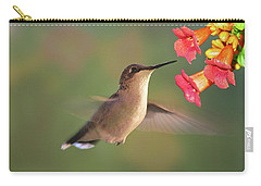 Hummer With Trumpet Vine Flowers Carry-all Pouch