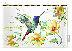Hummibgbird And Yellow Flowers Carry-all Pouch