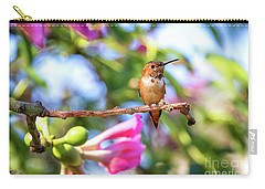 Humming Bird Pink Flowers Carry-all Pouch by Stephanie Hayes