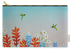 Carry-all Pouch featuring the painting Humming Birds Feeding On Wildflowers by Jimmie Bartlett