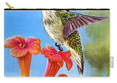 Carry-all Pouch featuring the painting Hummingbird And A Trumpet Vine 2 by Phyllis Beiser