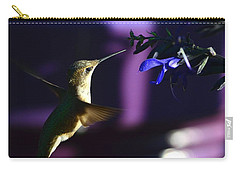 Hummingbird And Blue Flower Carry-all Pouch