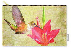 Carry-all Pouch featuring the digital art Hummingbird And Flower by Christina Lihani