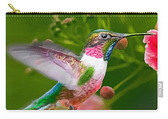Hummingbird And Flower Painting Carry-all Pouch