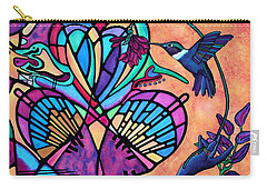 Hummingbird And Stained Glass Hearts Carry-all Pouch by Lori Miller