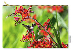 Hummingbird Getting Nectar From Flower Carry-all Pouch