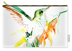 Hummingbird Green Orange Red Carry-all Pouch by Suren Nersisyan