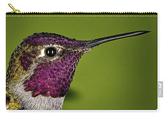 Carry-all Pouch featuring the photograph Hummingbird Head Shot With Raindrops by William Lee