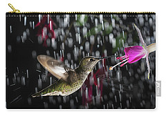 Carry-all Pouch featuring the photograph Hummingbird Hovering In Rain With Splash by William Lee