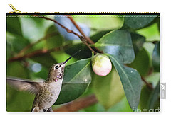 Hummingbird In Flight Carry-all Pouch by Suzanne Luft