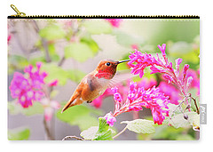 Hummingbird In Spring Carry-all Pouch by Peggy Collins