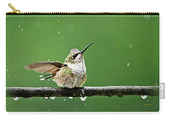 Hummingbird In The Rain Carry-all Pouch by Christina Rollo